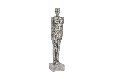 Puzzle Man Sculpture Black/Silver, Aluminum