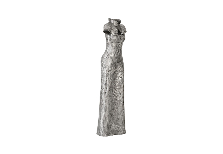 Dress Sculpture, Short Sleeves Black/Silver, Aluminum