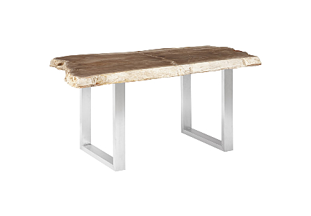 Petrified Wood Dining Table Brushed Stainless Steel Legs