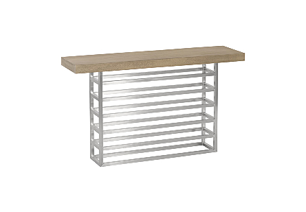Ladder Console Table Suar Wood, Grey/Silver Finish