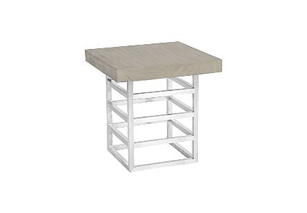 Ladder Side Table Suar Wood, Grey/Silver Finish