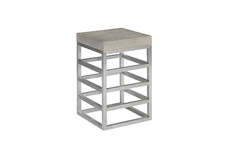 Ladder Counter Stool  Suar Wood, Grey/Silver Finish