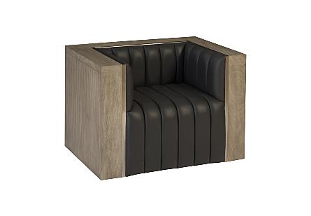 Bordo Club Chair Suar Wood, Grey/Silver Finish