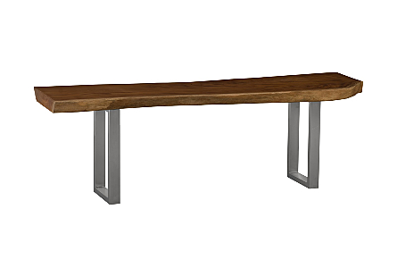 Mahogany Wood Console Table Brushed Stainless Steel Legs