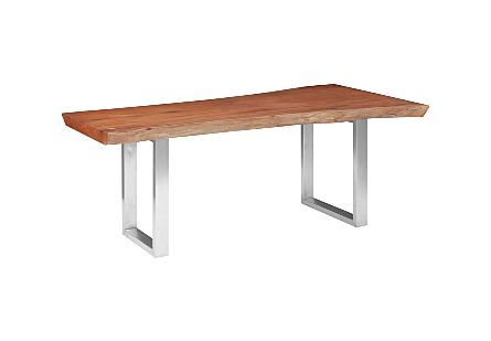 Mahogany Wood Dining Table Brushed Stainless Steel Legs