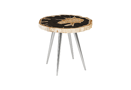 Petrified Wood Side Table Stainless Steel Legs