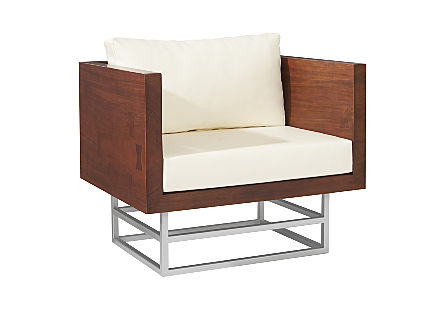 Ladder Club Chair Suar Wood, Natural/Brushed Stain Steel Base