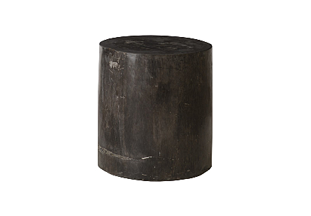 "Petrified Wood Stool, Polished , Black , 15""-18"" x 17""-19""h  Assorted"