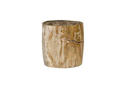 "Petrified Wood Stool, Polished Cream , 15""-18"" x 17""-19""h Assorted"