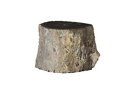 "Petrified Wood Stool, Rough, Black , 19""-24"" x 17""-19""h Assorted"