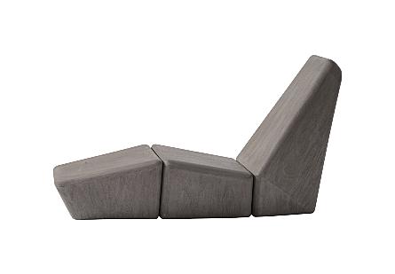Monolith Lounge Chair Merbau Wood, Grey