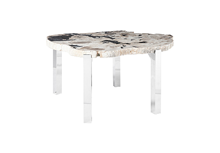 Petrified Wood Dining Table Round, Stainless Steel Legs