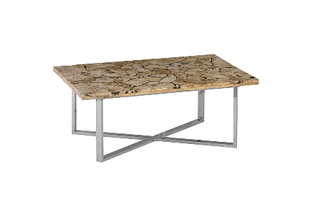 Laminated Petrified Coffee Table Brushed Stainless Steel Base