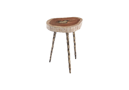 Molten Side Table SM, Poured Brass In Wood