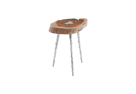 Molten Side Table SM, Poured Aluminum In Wood