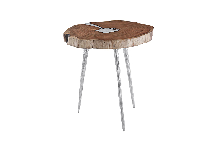 Molten Side Table LG, Poured Aluminum In Wood