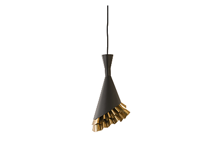 Ruffle Pendant Lamp Black/Brass