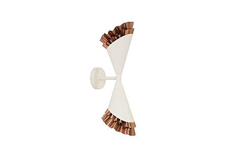 Ruffle Sconce White/Copper