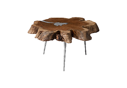 Molten Coffee Table Poured Aluminum in Wood, Metal Legs