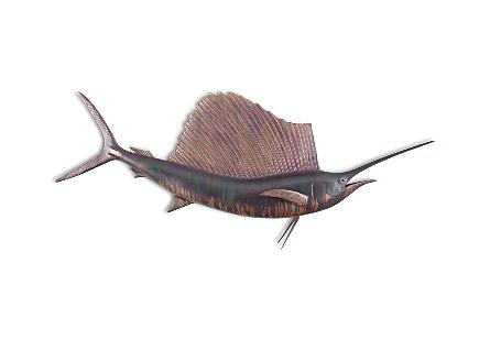 Sail Fish Wall ,   Copper Patina ,  5ft