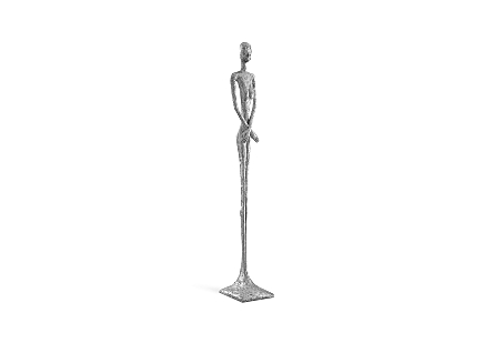 Skinny Female Sculpture Silver Leaf
