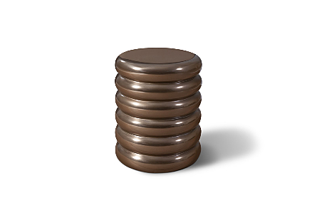 Ribbed Stool Polished Bronze