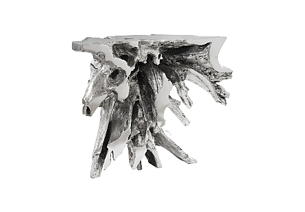 Luxe Freeform Console Table Silver Leaf