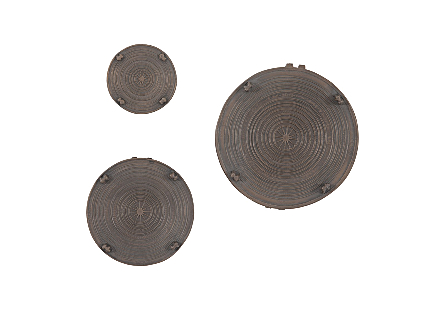 Laotian Rain Drums Set of 3, Bronze