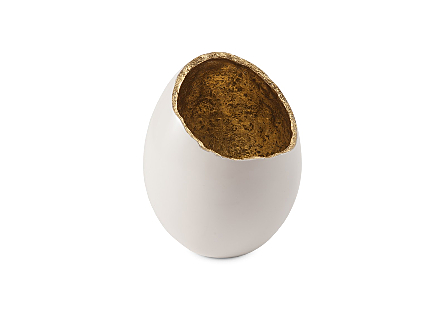 Broken Egg Vase White and Gold Leaf