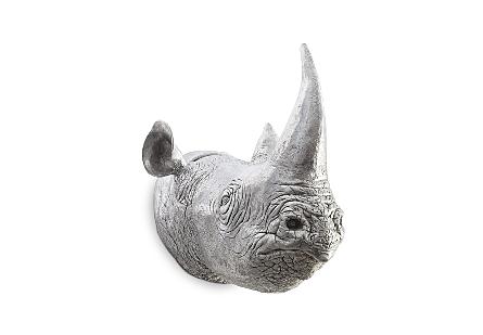 Rhino Wall Art Resin, Silver Leaf
