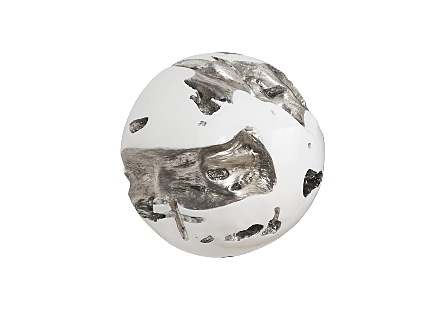 Cast Root Wall Ball Silver Leaf, White, LG