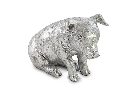 Sitting Piglet Silver Leaf