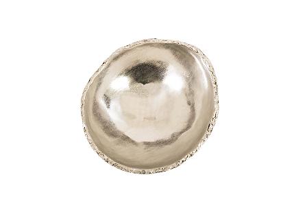 Broken Egg Bowl White and Silver Leaf