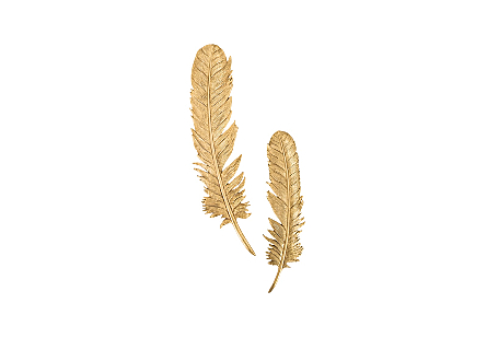 Feathers Wall Art Gold Leaf, Set of 2