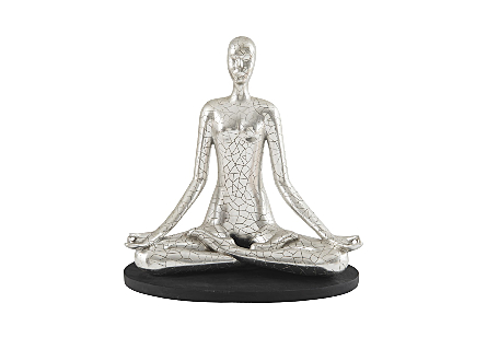 Yoga Figure Meditating, Silver Leaf, With Lines
