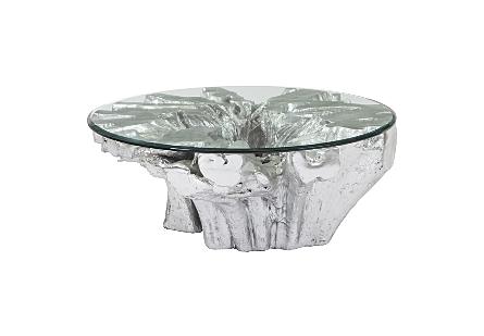 Freeform Coffee Table Silver Leaf