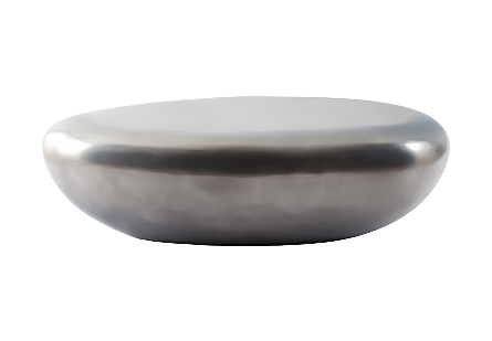 River Stone Coffee Table Polished Aluminum, LG