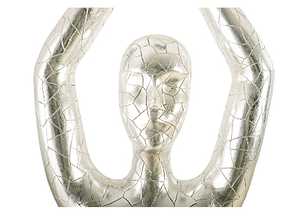Yoga Figure, Female Silver, With Lines