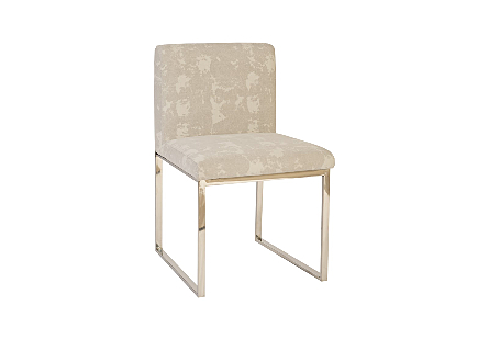 Frozen Dining Chair Khaki Grey, Stainless Steel Frame