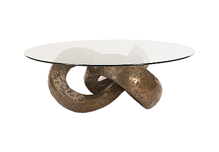 Trifoil Coffee Table Bronze w/ Glass