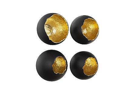 Broken Egg Wall Art Black and Gold Leaf, Set of 4