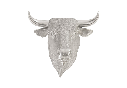Spanish Fighting Bull Wall Art Resin, Silver Leaf