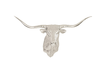 Longhorn Bull Wall Art Resin, Silver Leaf