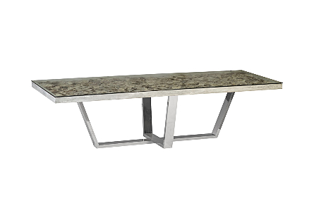 Shell Dining Table w/Glass, Escade SS Base