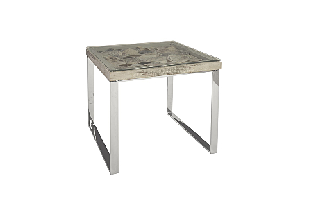 Shell Side Table w/Glass, SS Legs
