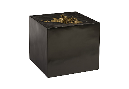 Black Side Table Gold Leaf Indent