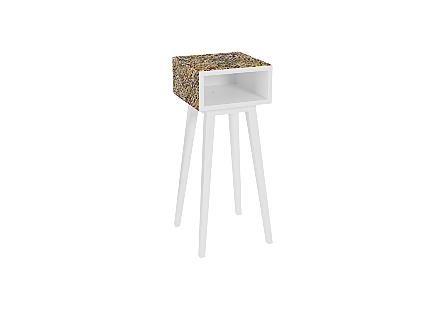 Multi Woven Plastic Chip Wrapper Wood Frame & Leg