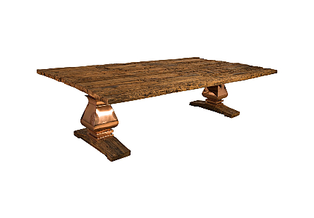Railway Dining Table Copper Legs, Railway Base