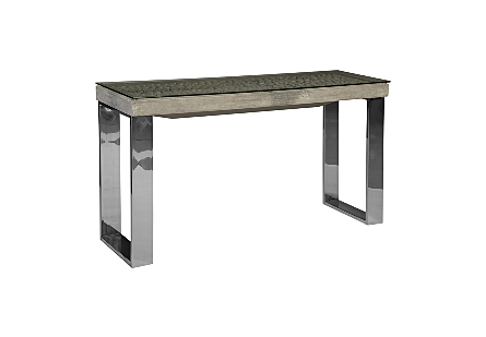 Driftwood Console Table Wood, Glass, Stainless Steel Base, Scaff Finish