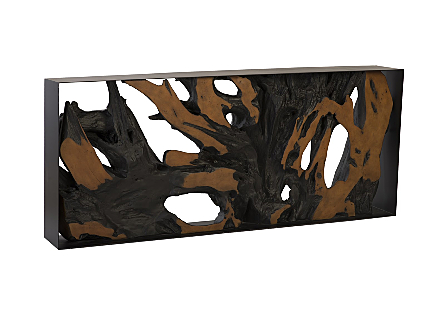 Cast Root Console Table Iron Frame, Resin, Brown